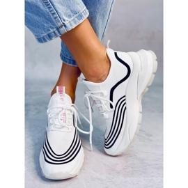 White sports socks BX1820-SP WHITE / BLACK 1