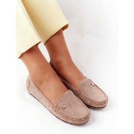 PS1 Women's Suede Loafers Beige Madelyn 1