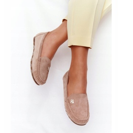 PS1 Women's Suede Loafers Beige Madelyn 6