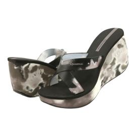 Women's Ipanema 83071 Lipsick Straps VII wedge slippers black grey 2