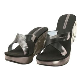 Women's Ipanema 83071 Lipsick Straps VII wedge slippers black grey 1