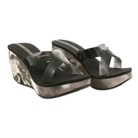 Women's Ipanema 83071 Lipsick Straps VII wedge slippers black grey 4