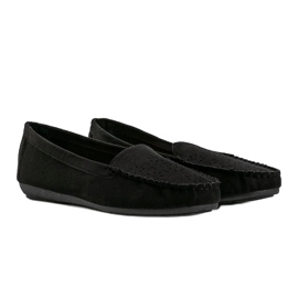 Black loafers with an openwork Justine toe 1