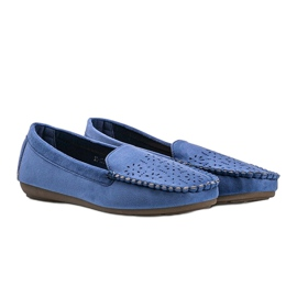 Blue loafers with an openwork Justine toe 1
