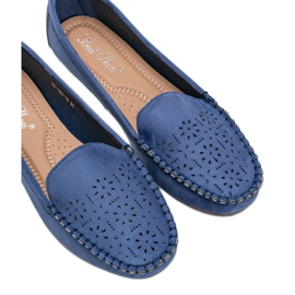 Blue loafers with an openwork Justine toe 2