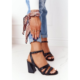PV3 Leather Sandals On A Bar Black Visconi 4400476 6