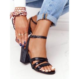 PV3 Leather Sandals On A Bar Black Visconi 4400476 2