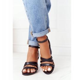 PV3 Leather Sandals On A Bar Black Visconi 4400476 4