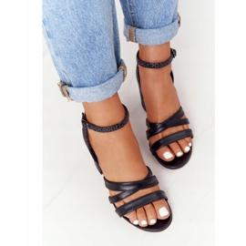 PV3 Leather Sandals On A Bar Black Visconi 4400476 5