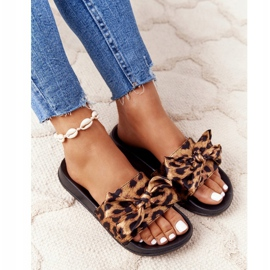 EVE Women's Slippers With A Bow Leopard Beat It brown black 4