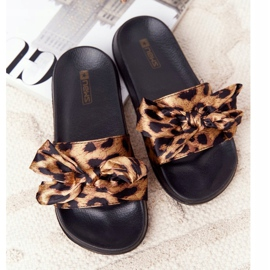 EVE Women's Slippers With A Bow Leopard Beat It brown black 1