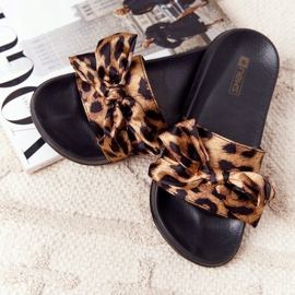 EVE Women's Slippers With A Bow Leopard Beat It brown black 5