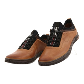Polbut Men's leather casual shoes K24 1337 brown 1