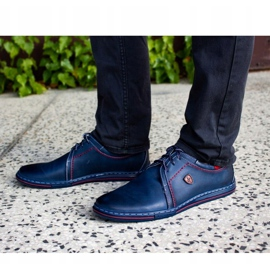 Polbut Leather men's shoes 343 navy blue red 1