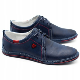 Polbut Leather men's shoes 343 navy blue red 2