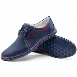 Polbut Leather men's shoes 343 navy blue red 3