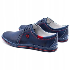 Polbut Leather men's shoes 343 navy blue red 4
