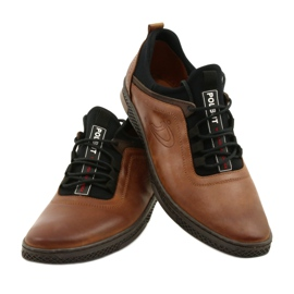 Polbut Men's leather casual shoes K24 1337 brown 4