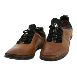 Polbut Men's leather casual shoes K24 1337 brown 2