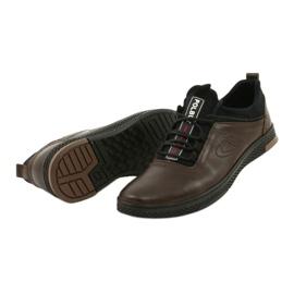 Polbut Casual leather men's shoes K24 908 brown black 2