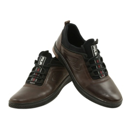 Polbut Casual leather men's shoes K24 908 brown black 3
