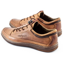 Polbut Men's leather casual shoes K22 light brown 8