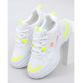 Women's white and yellow sports shoes HX-68 Yellow multicolored 1