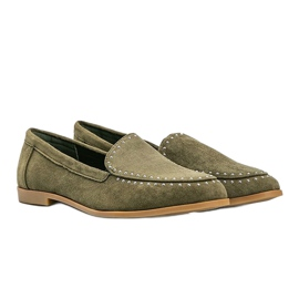 Green loafers made of eco-suede from Hope 1