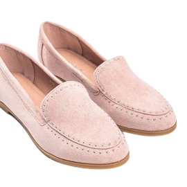 Pink eco-suede loafers from Hope 2