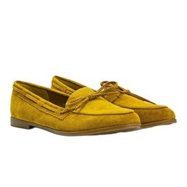 Mustard loafers made of Kierra eco-suede yellow 1