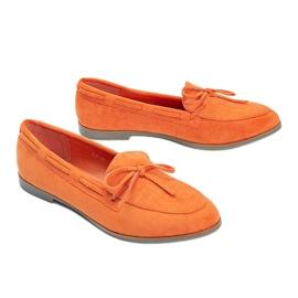 Orange moccasins made of Kierra eco-suede 1