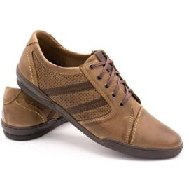 Polbut Casual men's shoes R3 Perforation Brown 4