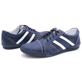 Polbut Men's casual shoes R3 Perforation Navy blue with white multicolored 6