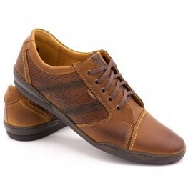 Polbut Casual men's shoes R3 Perforation Camel brown 4