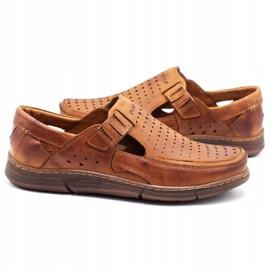 Polbut Men's summer openwork shoes J73L camel brown 7