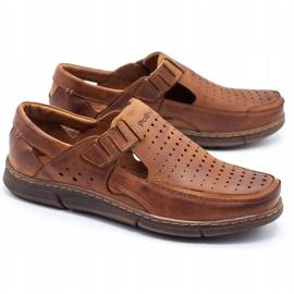 Polbut Men's summer openwork shoes J73L camel brown 6