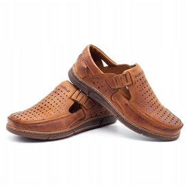 Polbut Men's summer openwork shoes J73L camel brown 3