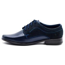 Lukas Children's formal communion shoes J1 navy blue with nubuck 1