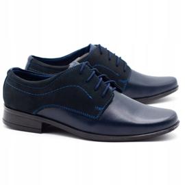 Lukas Children's formal communion shoes J1 navy blue with nubuck 2
