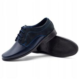 Lukas Children's formal communion shoes J1 navy blue with nubuck 3