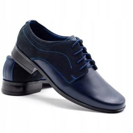 Lukas Children's formal communion shoes J1 navy blue with nubuck 4