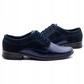Lukas Children's formal communion shoes J1 navy blue with nubuck 5