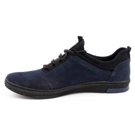 Polbut Men's casual leather shoes K24 navy blue suede 1