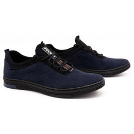 Polbut Men's casual leather shoes K24 navy blue suede 2