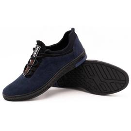 Polbut Men's casual leather shoes K24 navy blue suede 3