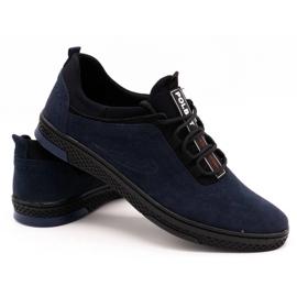 Polbut Men's casual leather shoes K24 navy blue suede 4