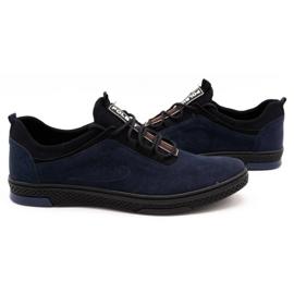 Polbut Men's casual leather shoes K24 navy blue suede 5