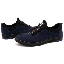 Polbut Men's casual leather shoes K24 navy blue suede 6