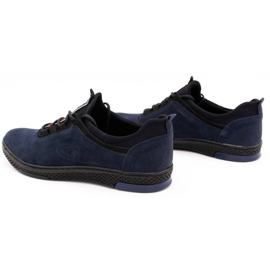 Polbut Men's casual leather shoes K24 navy blue suede 7