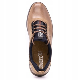 Polbut Men's casual leather shoes K24 light brown 9